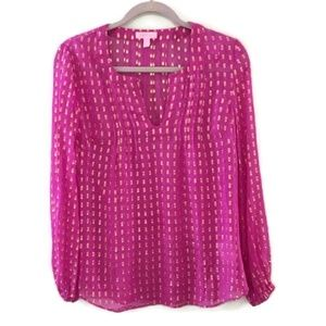 LILLY PULITZER pink Colby silk gold dot top